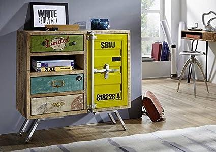 Mango de madera maciza de hierro muebles de madera maciza industrial-Stil cómoda maciza muebles Mango madera maciza lacada Multicolor Liverpool #22