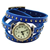 Caltrad Retro Wrap Around Quartz Leather Bracelet Watch Bangle Wrist Watch - Blue