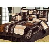 7-Piece Queen Leopard Micro Suede Comforter Set