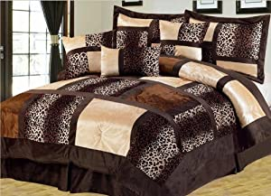 7-Piece King Leopard Patchwork Micro Suede Comforter Set