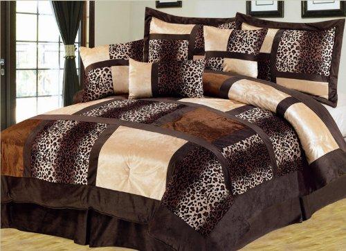 7 piece queen leopard micro suede comforter set bedding sets 7 piece queen bedroom furniture sets