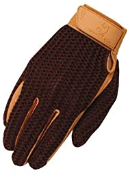 Heritage Crochet Riding Glove, Brown/Tan, Size 7
