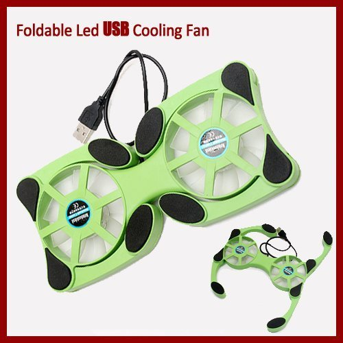 Water & Wood Black Slim Usb Mini Octopus Foldable 2 Fan Laptop Notebook Cooler Cooling Pad front-624419
