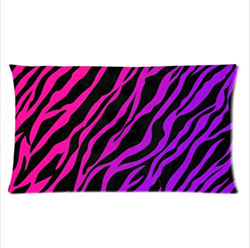 Pink & Black Zebra Stripe Body Pillow Cases 150 Thread Count,20X36 Inches (Two Sides ) front-1026814