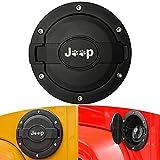 Gas Cap Cover for Jeep Wrangler, Gas Tank Cover Satin Black Powder Coated Steel Fuel Filler Door Cover for Jeep Wrangler Accessories 2007 - 2017 JK & Unlimited 4 Door 2 Door Sport Rubicon Sahara