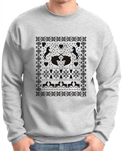 Ugly Christmas Sweater With Unicorns Premium Crewneck Sweatshirt 2Xl Ash
