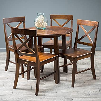 Potter 5pc Mahogany Stained Wood Round Table Dining Set
