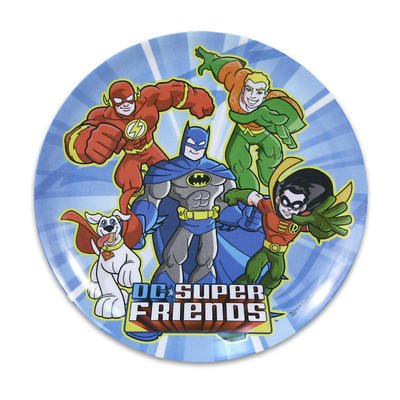 "Set Of 4 Dc Super Friends Flash, Batman, Robin, Aquaman, Super Dog Melamine 8"" Plates"