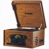 Steepletone Chichester 2 (Chichester II) Nostalgic Retro Wooden Music Centre - Record Deck Turntable - CD Player - Cassette Deck - MW / FM Radio - Built in Speakers (Ultra Compact) Real Wood - Light Oak effect (UK Mk II Model)
