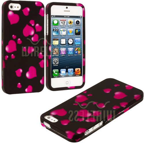 Mylife (Tm) Hot Pink Heart Sprinkles Series (2 Piece Snap On) Hardshell Plates Case For The Iphone 5/5S (5G) 5Th Generation Touch Phone (Clip Fitted Front And Back Solid Cover Case + Rubberized Tough Armor Skin + Lifetime Warranty + Sealed Inside Mylife A