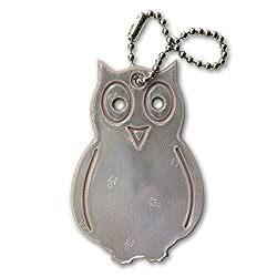 funflector Safety Reflector - Owl - Ultra bright reflective tag for jackets purses bags and backpacks Sandalwood 1-pack