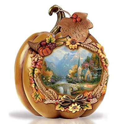 Thomas Kinkade Thanksgiving Blessed Are Our Loved Ones Illuminated Tabletop Pumpkin Display 6""