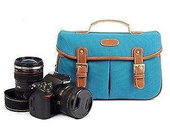 Kattee Vintage PU Leather/ Canvas DSLR Camera Shoulder Bag for Canon Nikon, etc 2