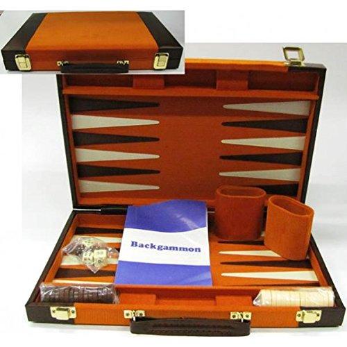 Mallette backgammon façon cuir marron orange - 37 x 24 x 5 cm - KA0405