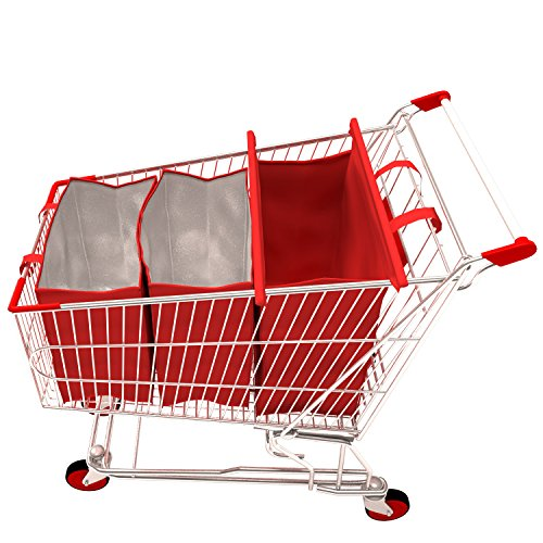 Shopping Cart Bags | 3 Eco-Friendly Grocery Trolley Bags of which 2 Insulated (Recycling Trolley compare prices)