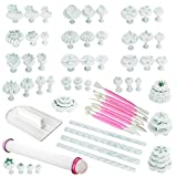 Fu Store Cake Decorating Tools (68pcs) Fondant Molds Fondant Tools Flower Cutters Cake Smoother Sugarcraft Icing Decorating Flower Modelling Tools (Pink)