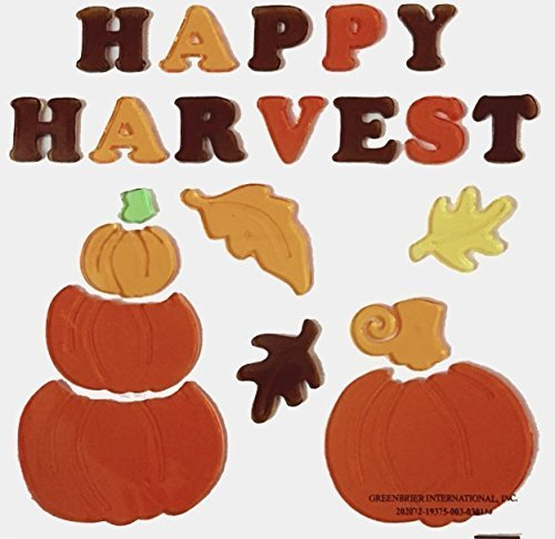 [Autumn 21 Count Fall Thanksgiving Harvest Pumpkin Leaves Gel Window Cling Decorations ~ Very Cute] (Miley Cyrus Princess Costume)