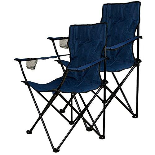 Nexos, Set di 2 sedie pieghevoli da campeggio, con porta-bicchiere intregrato nel bracciolo, colore: Blu