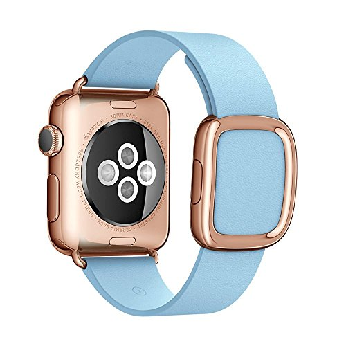 Apple Watch cinturino,42mm Sumin® Modern Buckle Genuine Leather cinturino with Double Button Magnetic Closure Replacement Wristcinturino Strap Bracelet for Apple Watch All Models 42mm - Blue Jay