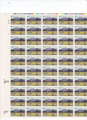 Wyoming Sheet of 50 x 25 Cent US Postage Stamps NEW Scot 2444