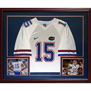 Tim Tebow Autographed Florida Gators (White #15) Deluxe Framed Jersey w  07 Heisman -... by PalmBeachAutographs.com