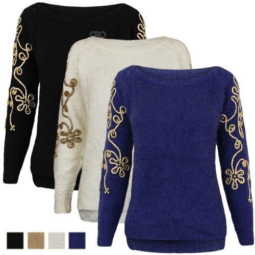 Oromiss da donna oro floreale impreziosito lavorato a maglia Maglioni Mohair stile vintage maglione Top Uk 8-14 Black Taglia unica