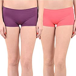 Mynte Women's Sports Shorts (MEWIWCMBP-SHR-103-102, Purple, Pink, Free Size, Pack of 2)
