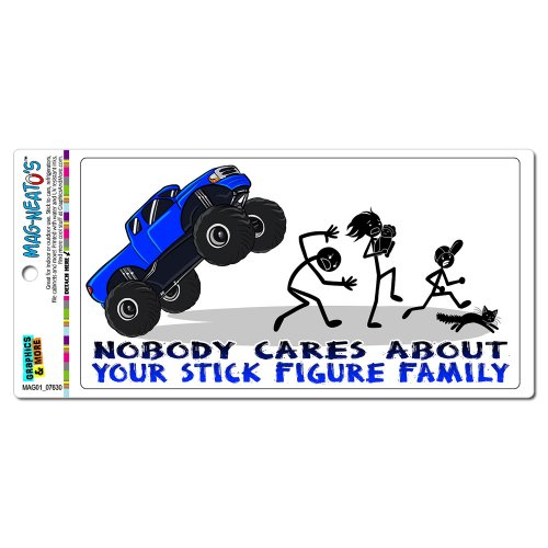 Nobody Cares About Your Stick Figure Family - Monster Truck Funny Mag-Neato'S(Tm) Automotive Car Refrigerator Locker Vinyl Magnet front-592831