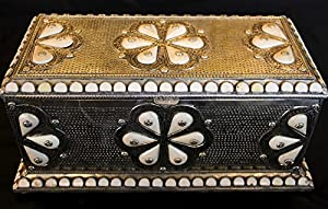 Moroccan Treasure Chest Trunk Jewelry Box Inlaid Camel Bone & Hammered Metal