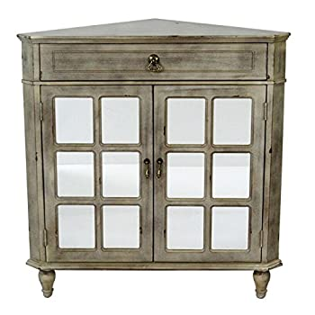 Heather Ann Creations The Vivian Collection Contemporary Style Wooden Double Door Floor Storage Living Room Corner Cabinet with Paned Glass Inserts and 1-Drawer, Grey Wash