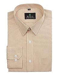 Basil Men's Poly Cotton Formal Shirt (BA380PLC45FSF-42, Beige, 42)