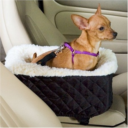 Snoozer Console Pet Car Seat Cream Fur, Small, Khaki Vinyl