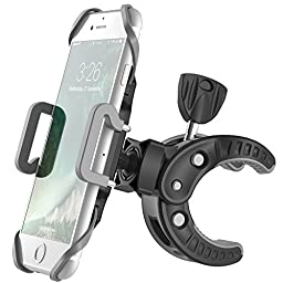 Bicycle Mount, F-color Bike Phone Mount Universal Bike Phone Holder Clamp with 360 Degree Rotation and Rubber Strap for iPhone Samsung, HTC, Smartphone and GPS Devices up to 3.6 inch Wide, Black