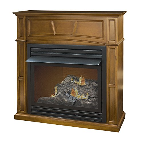 Pleasant Hearth Vent-Free Dual Fuel Fireplace in Rich Heritage, 45-Inch