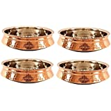 IndianArtVilla Set Of 4 Steel Copper Induction Handi 1450 ML Each - Serving & Baking Dishes Indian Food Dal Curry...