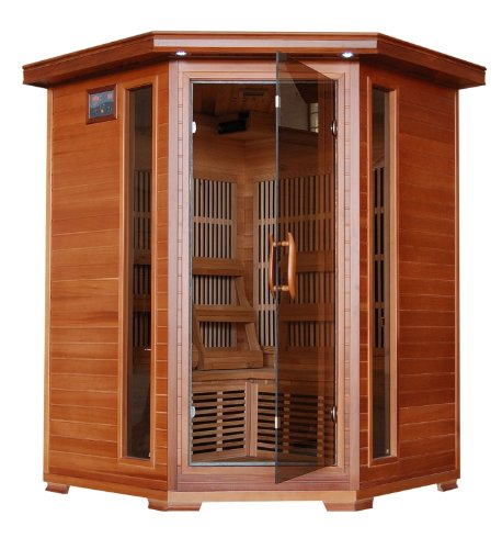 3 Person Sauna Corner Fitting Infrared FIR FAR Red Cedar Wood 7 Carbon Heaters CD Player MP3 Aux Color Light Therapy - Heatwave Hudson Bay