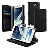 Evecase Leather Wallet Case with Stand and Credit Card Holder for Samsung Galaxy Note 2 II N7100 - Black