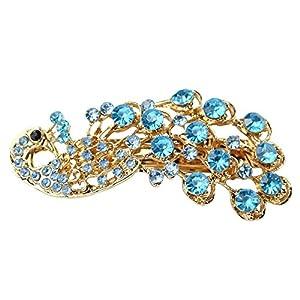Bemaystar Women's Vintage Crystal Peacock Hair Clip Head Wear