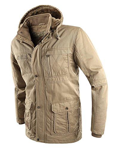 Jollypicks メンズ 中綿コート ジャケット ライナー付き 取り外し可能な帽子 保温 カーキ XL