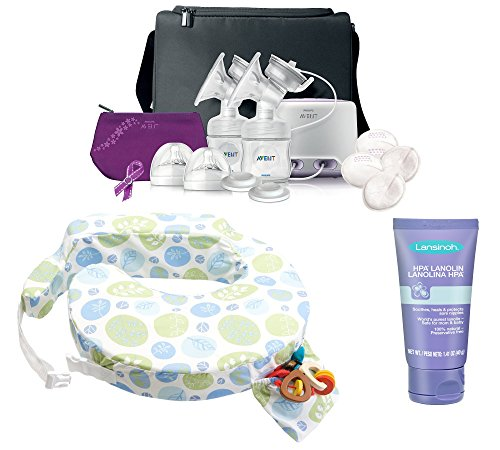 Philips Avent Comfort Double Electric Breast Pump With Nursing Pillow & Hpa Lanolin, Leaf