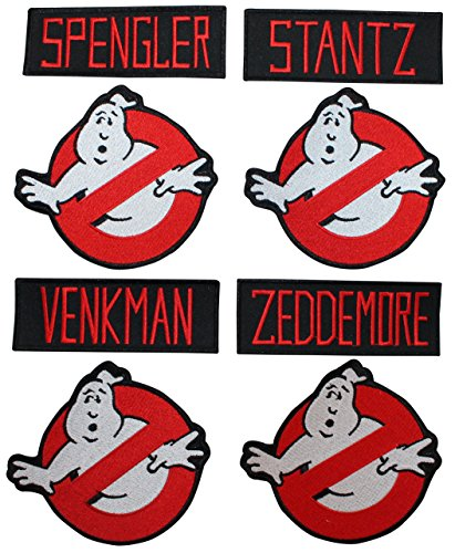 Lot of 8 Ghostbusters Name Tags & No Ghost Sign Patches