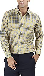 Silkina Men's Regular Fit Shirt (VPOI1102FBY, 40)