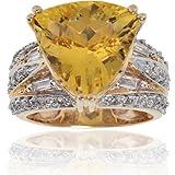 Michael Valitutti 14K Yellow Gold Golden Beryl (Heliodor) & Diamond Ring - SIZE 5