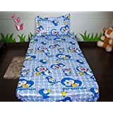 Sassoon Doraemon Baby Themes Cotton Bedsheet With Pillow Cover - Blue