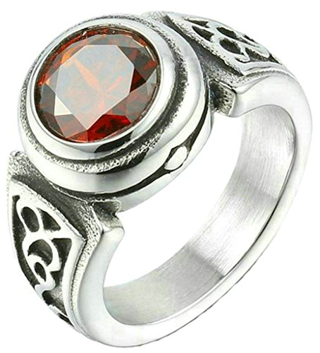 Daesar Stainless Steel Rings Mens Wedding Bands Carve Delicate Round Red CZ Size 8 Rings for Men (Row Row Fight The Power compare prices)