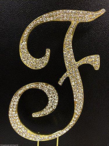 Crystal Rhinestone Covered Gold Monogram Wedding Cake Topper Letter F front-901544