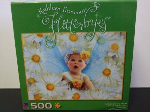 Kathleen Francour Flitterbyes 500 Piece Puzzle Little Bunny Blue