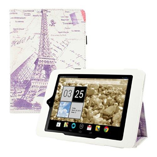 kwmobile Hülle für Acer Iconia A1-810 / A1-811 mit Stadt Eiffelturm Louvre Design und Ständer - Kunstleder Tablet Case Schutzhülle in Grau Weiß