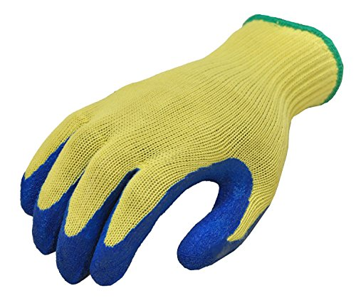 G & F 1607L Cut Resistant Work Gloves, 100-Percent Kevlar Knit Work Gloves, Heavy Weight Textured Blue Latex Coating, Large,