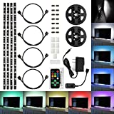 SUPERNIGHT 4 Pre-Cut Multicolor LED Light Strip Kit 1.3Ft RGB Accent LED Tape Light + Remote Control + Power Adapter + Wire Mounting Clips